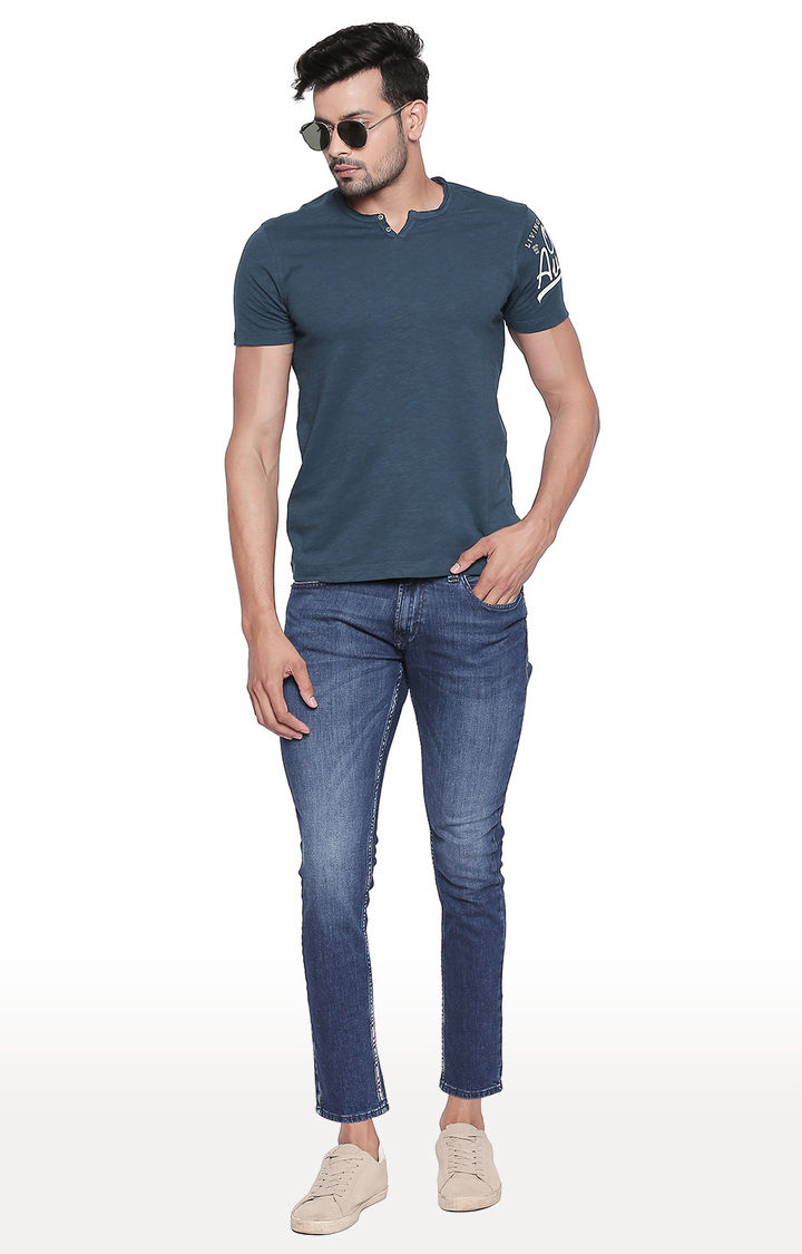 Teal Melange Slim Fit T-Shirt