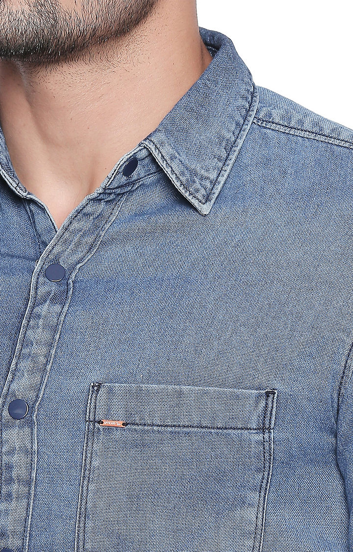 Mid Blue Solid Slim Fit Casual Shirt