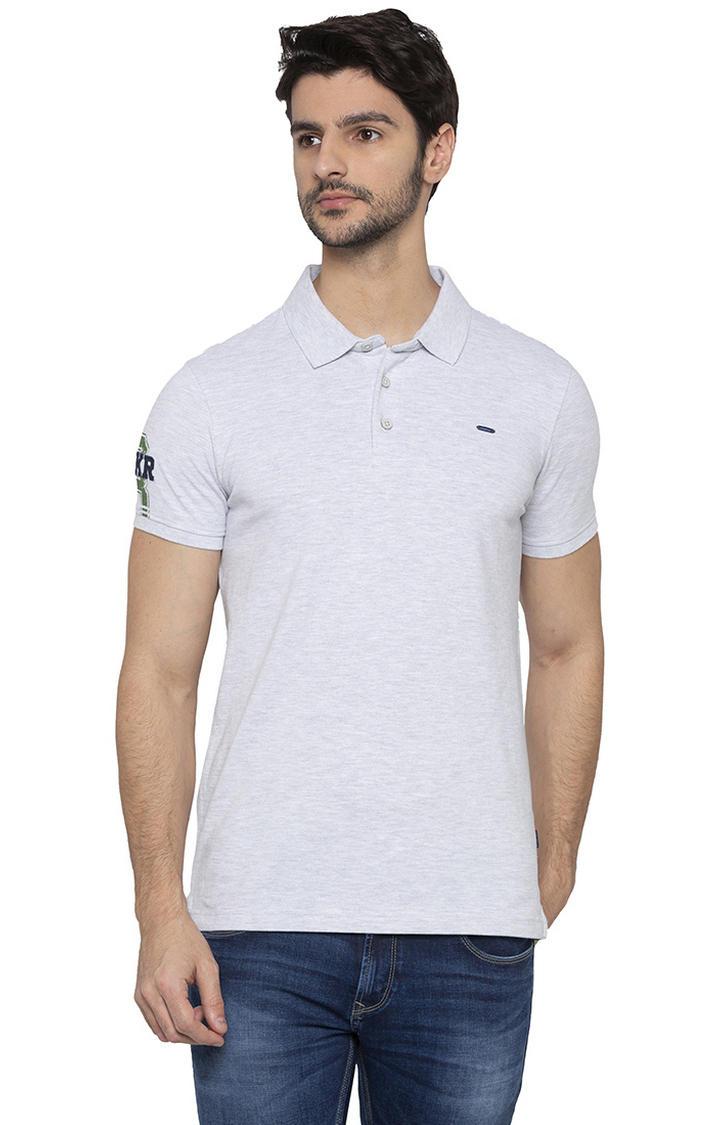 Spykar Ash Melange Polo T-Shirt
