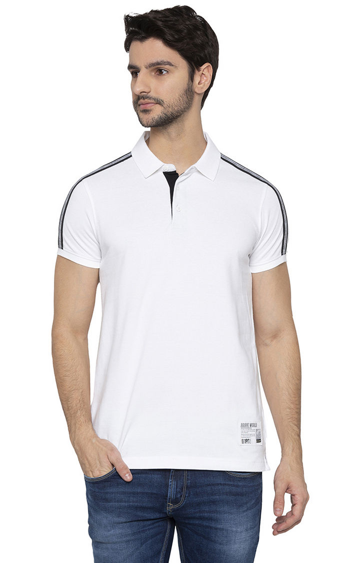 Spykar White Solid Polo T-Shirt