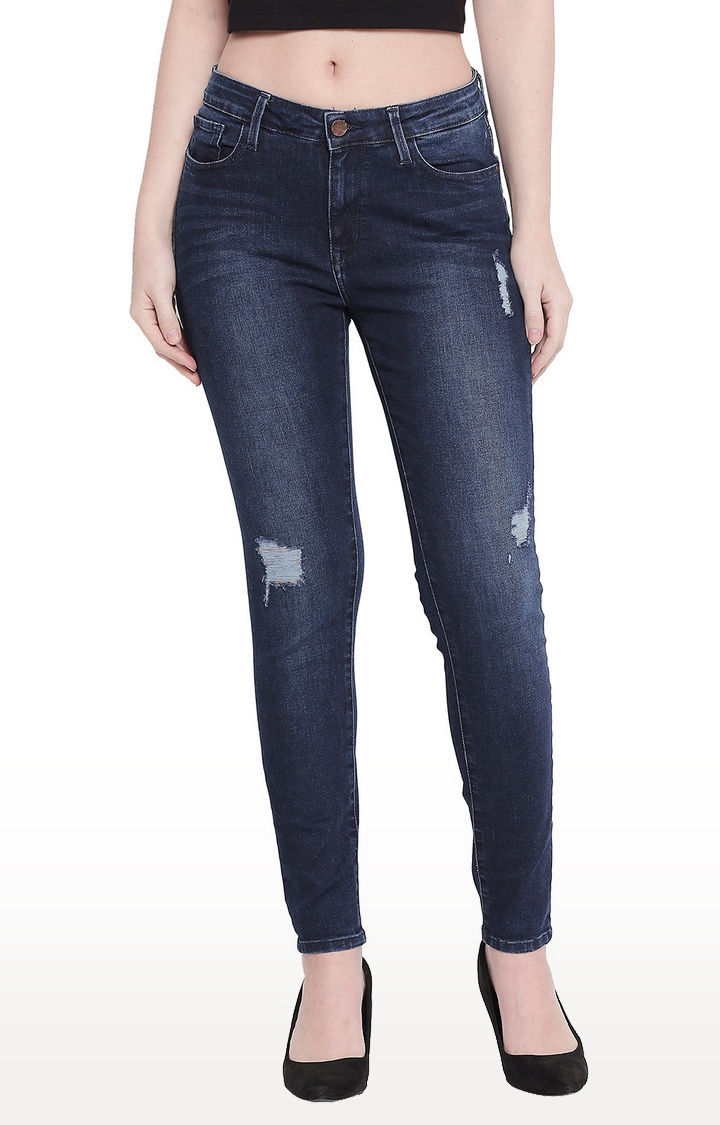 Distressed Dark Blue Skinny Fit Jeans