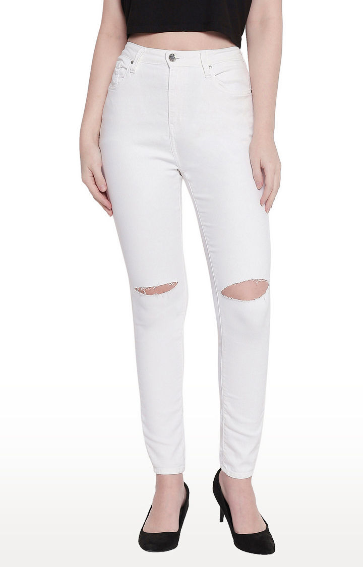 White Slash Knee Super Skinny Fit Jeans