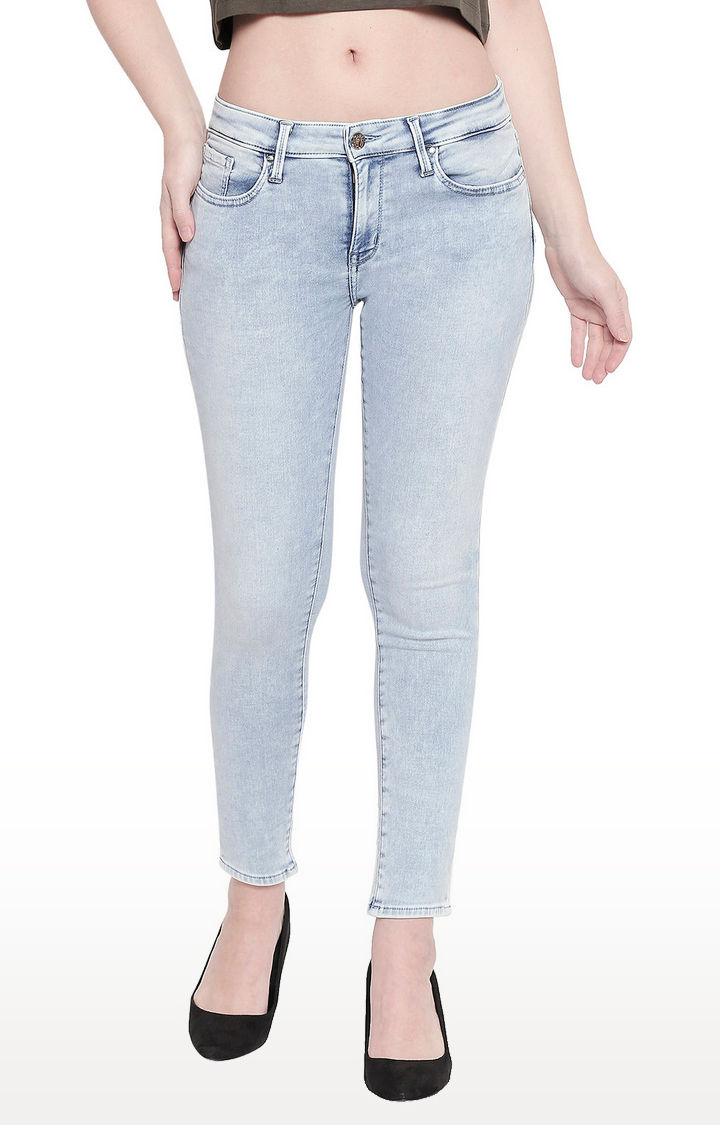 Light Blue Low-rise Waist Super Skinny Fit Jeans