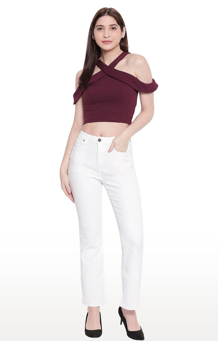 White High-Rise Bootcut Jeans
