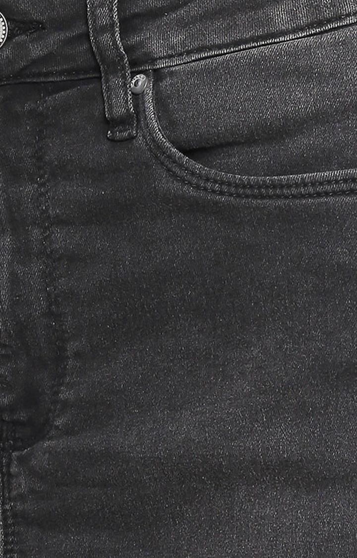 Black Raw Edge Denim Skirt