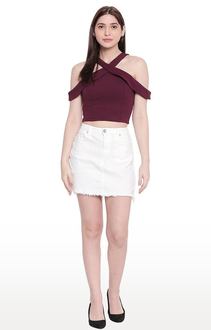 White Raw Edge Denim Skirt