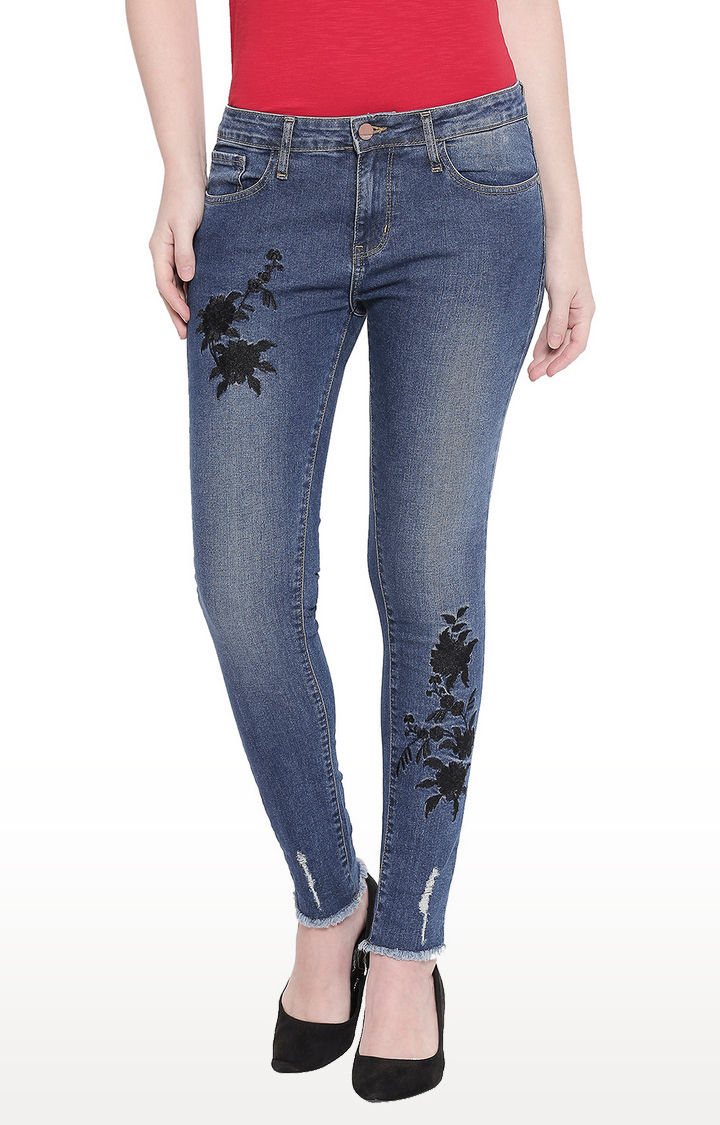 Mid Blue Embroidered Distress Super Skinny Fit Jeans