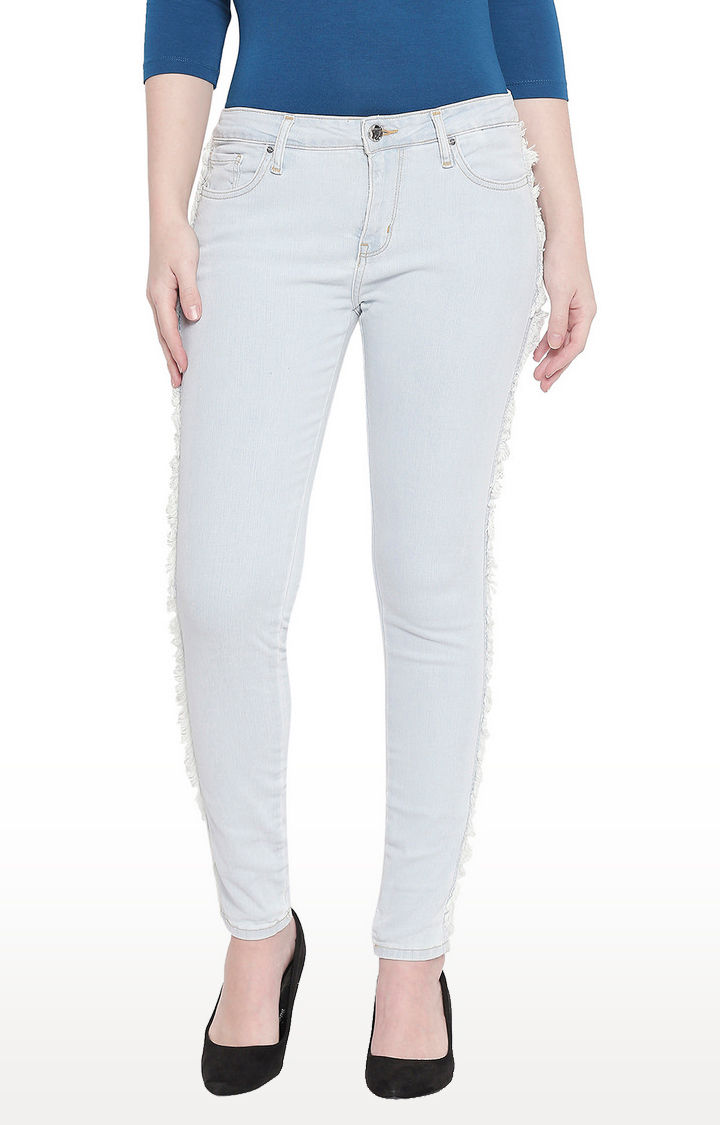 Ice Blue Frayed Side Band Super Skinny Fit Jeans