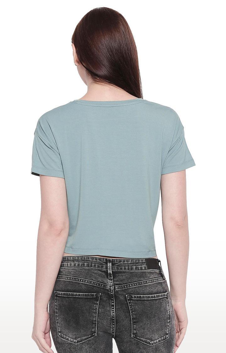 Green Printed Crop Fit T-shirt