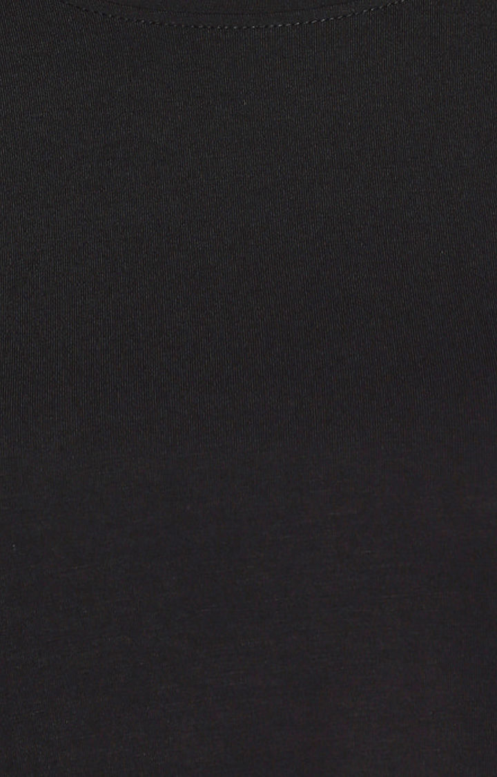 Black Printed Pocket Crop Fit T-shirt