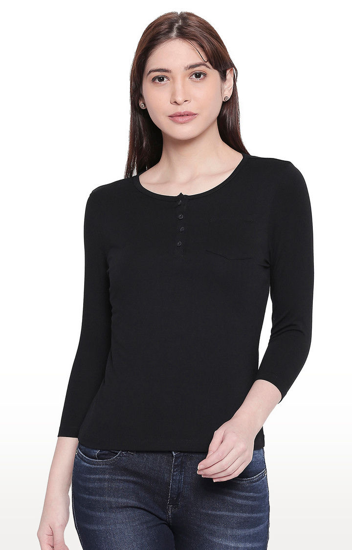Black Solid Henley Neck Top