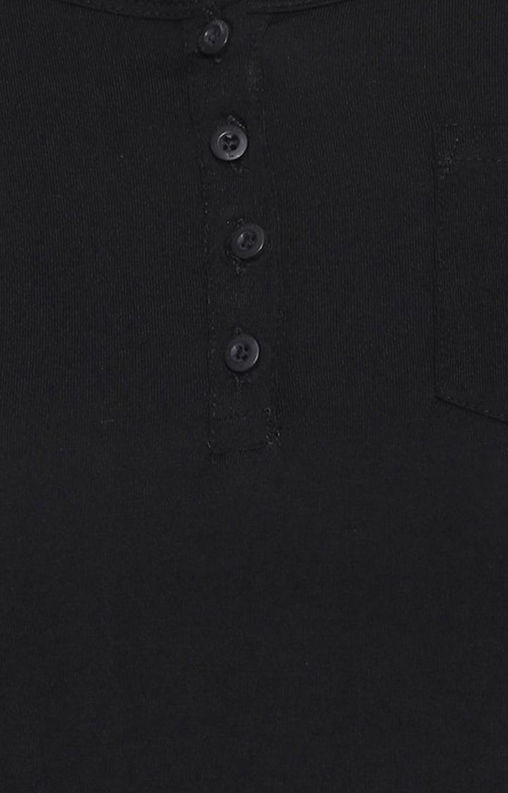 Black Solid Henley Neck Top