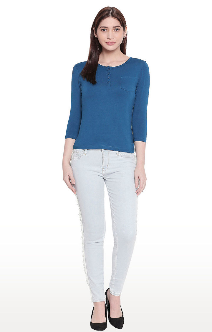 Teal Blue Solid Henley Neck Top