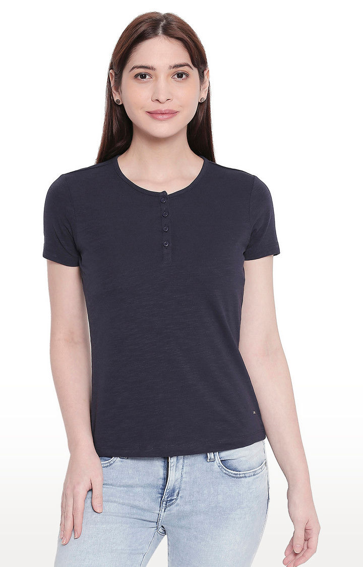 Navy Solid Henley Neck Top