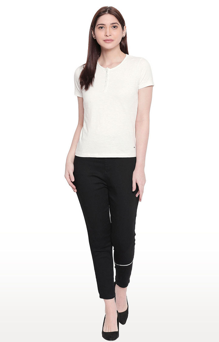 White Solid Henley Neck Top