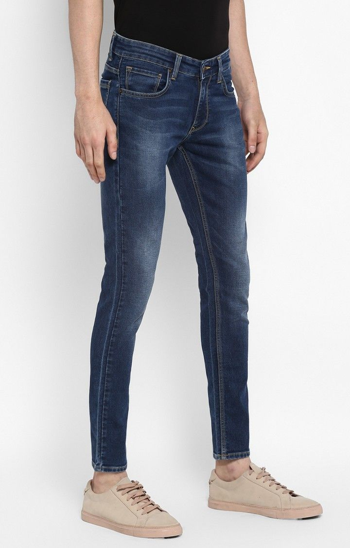 Dark Blue Solid Tapered Jeans