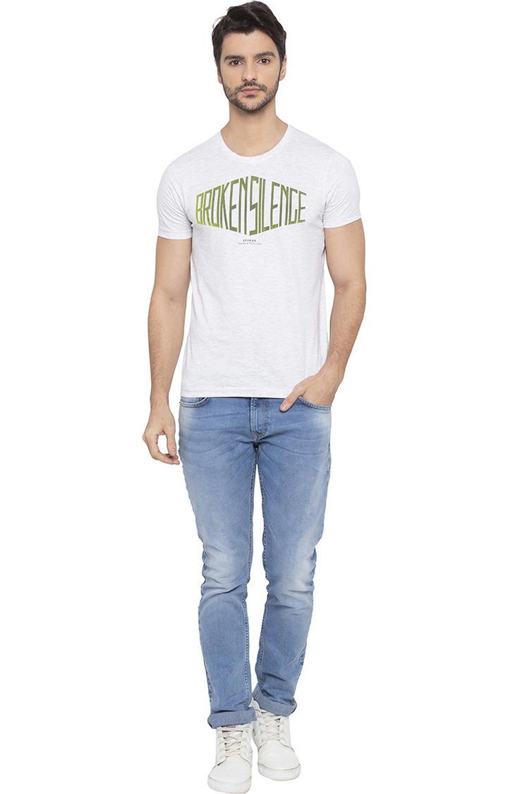 Ash Melange Printed T-Shirt