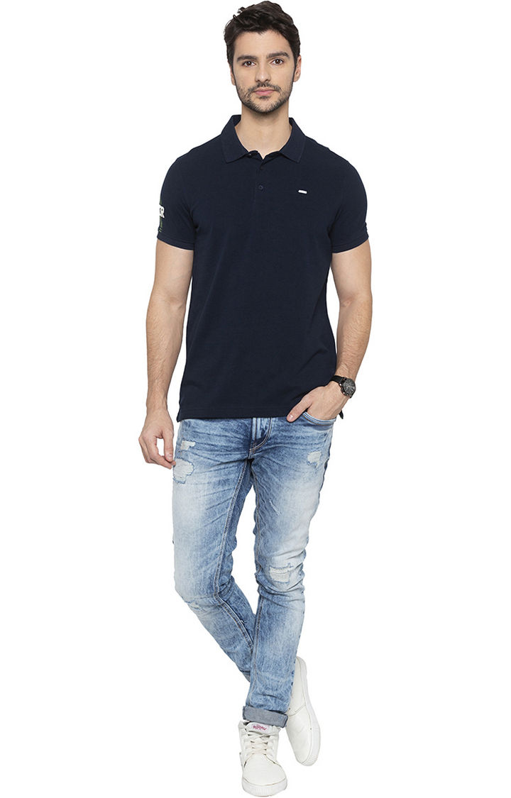 Navy Solid Polo T-Shirt