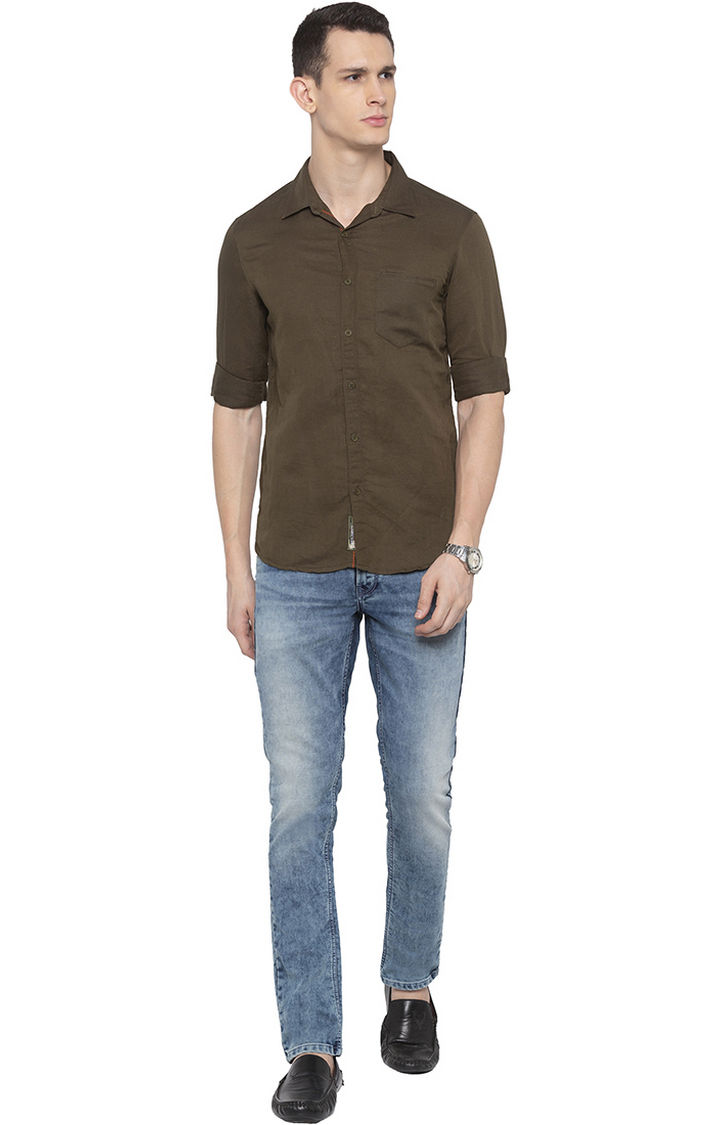 Olive Solid Casual Shirt