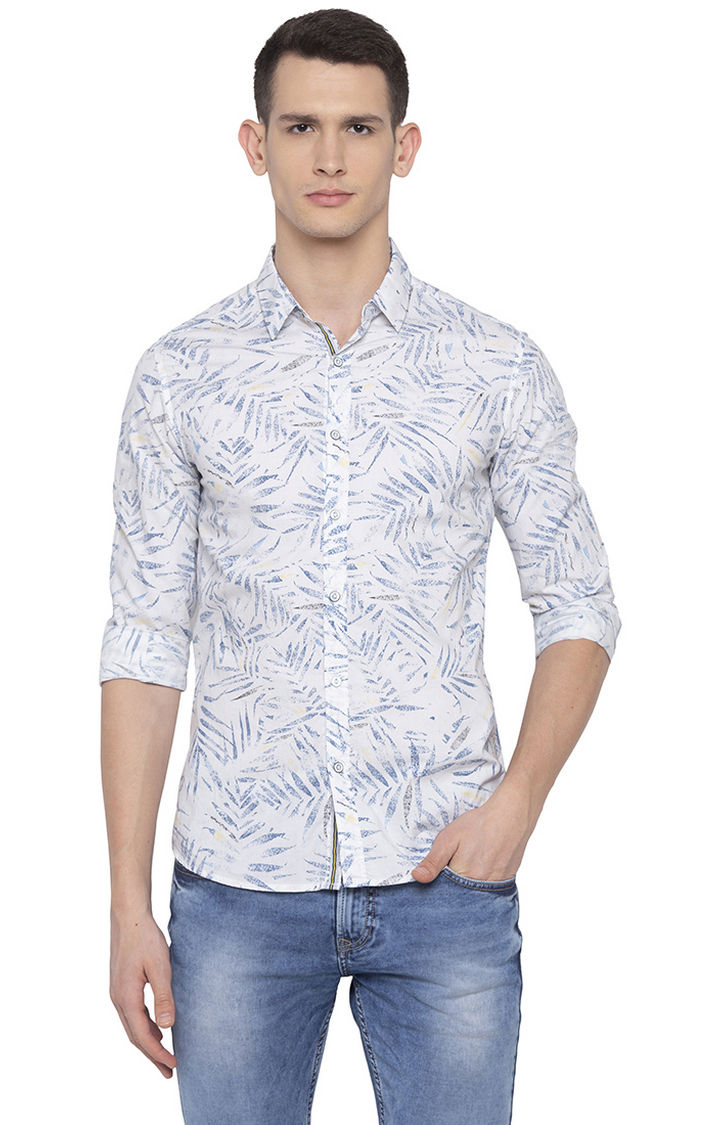 White Printed Slim Fit Casual Shirt