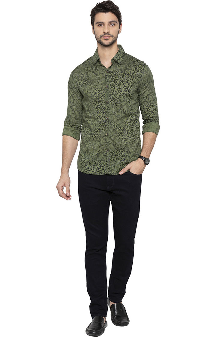Olive Printed Slim Fit Casual Shirt
