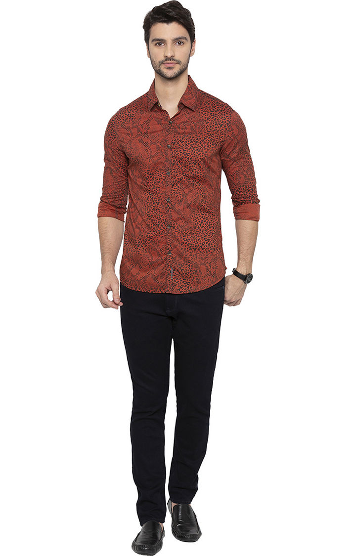 Rust Printed Slim Fit Casual Shirt