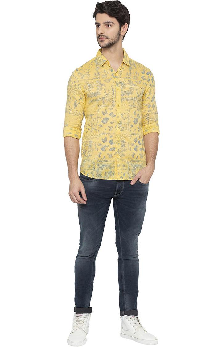 Yellow Printed Slim Fit Casual Shirt