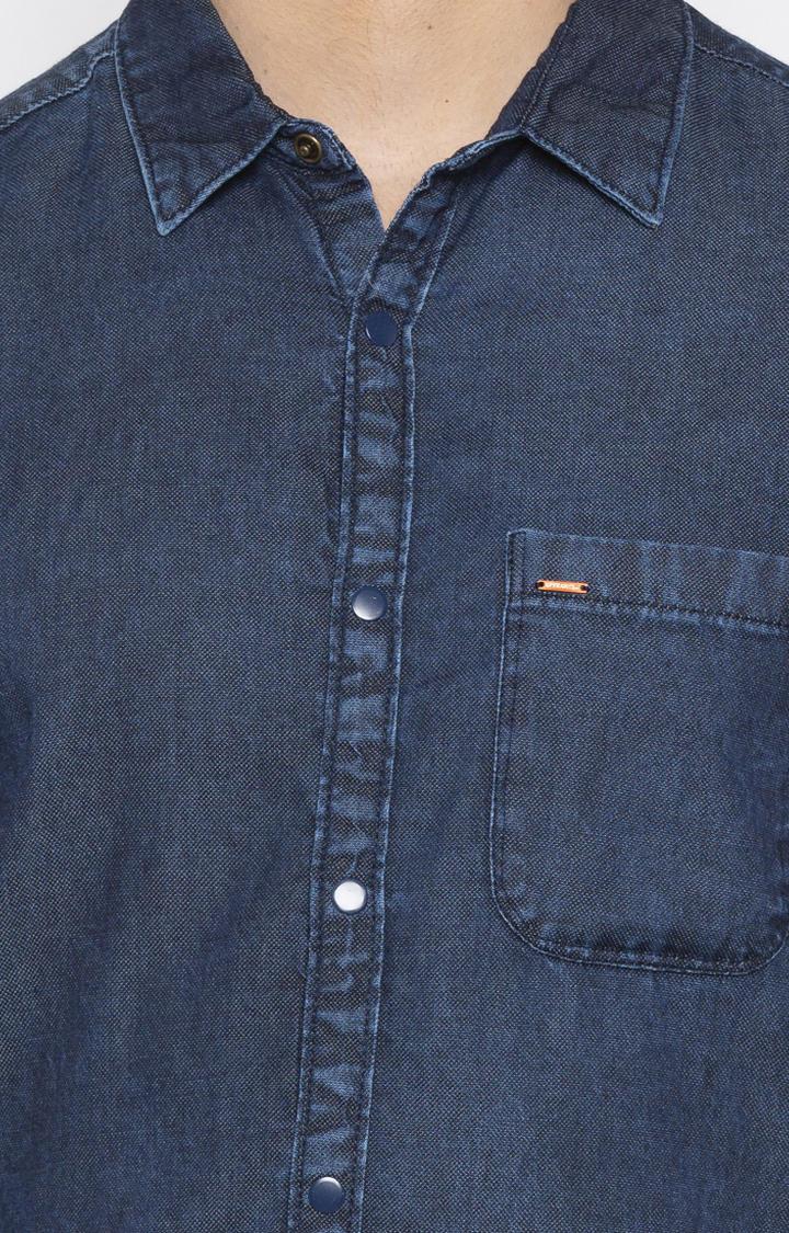Dark Blue Solid Slim Fit Casual Shirt