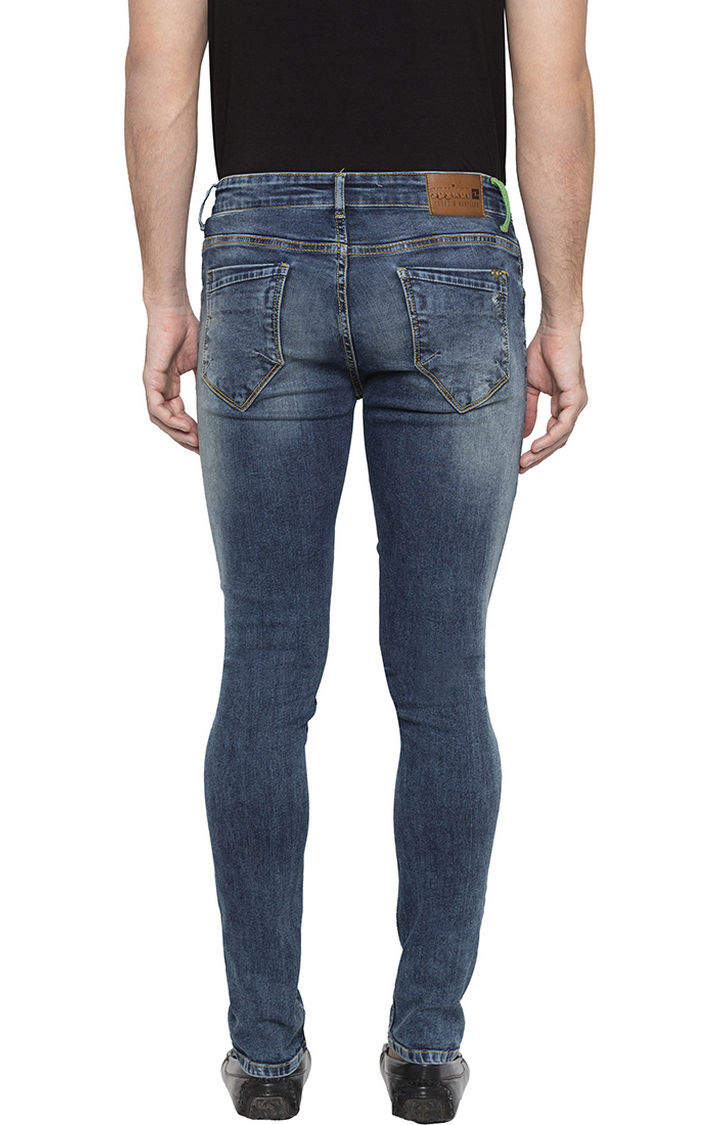 Mid Blue Ripped Super Skinny Fit Jeans