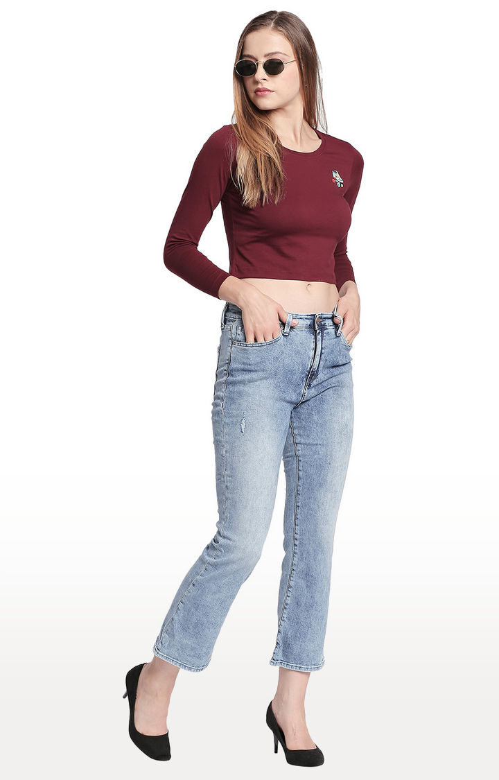 Light Blue Solid Bootcut Jeans