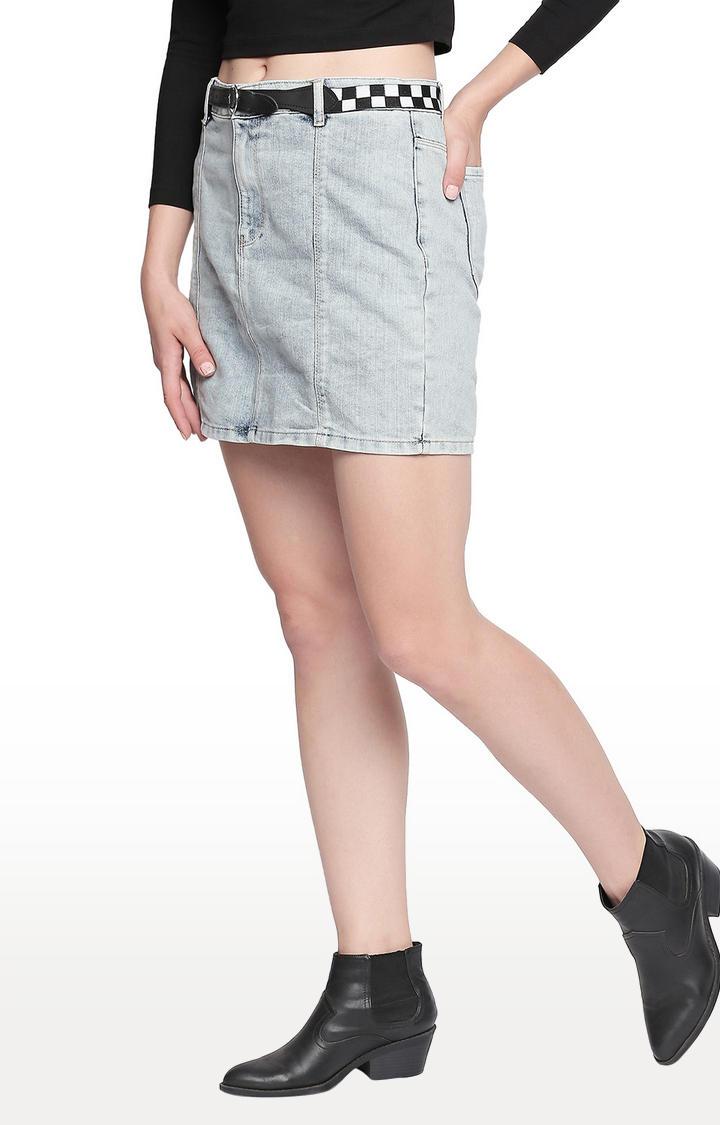 Light Blue Solid Skinny Fit Skirt