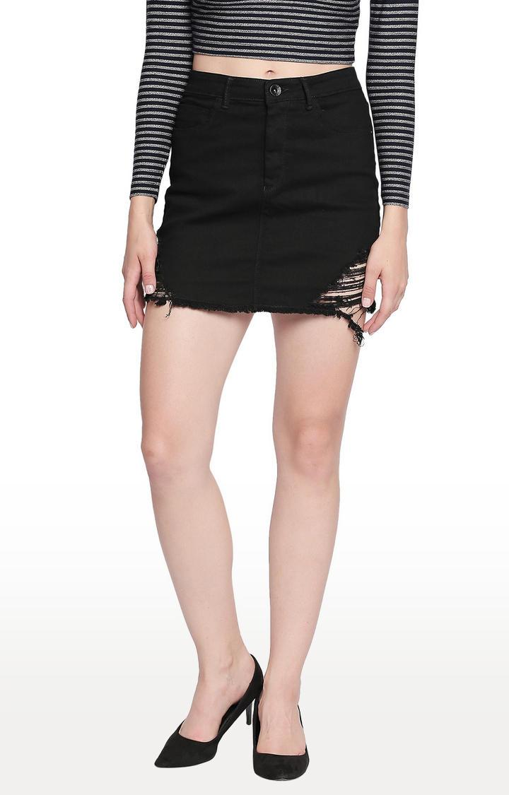 Black Ripped Skinny Fit Skirt