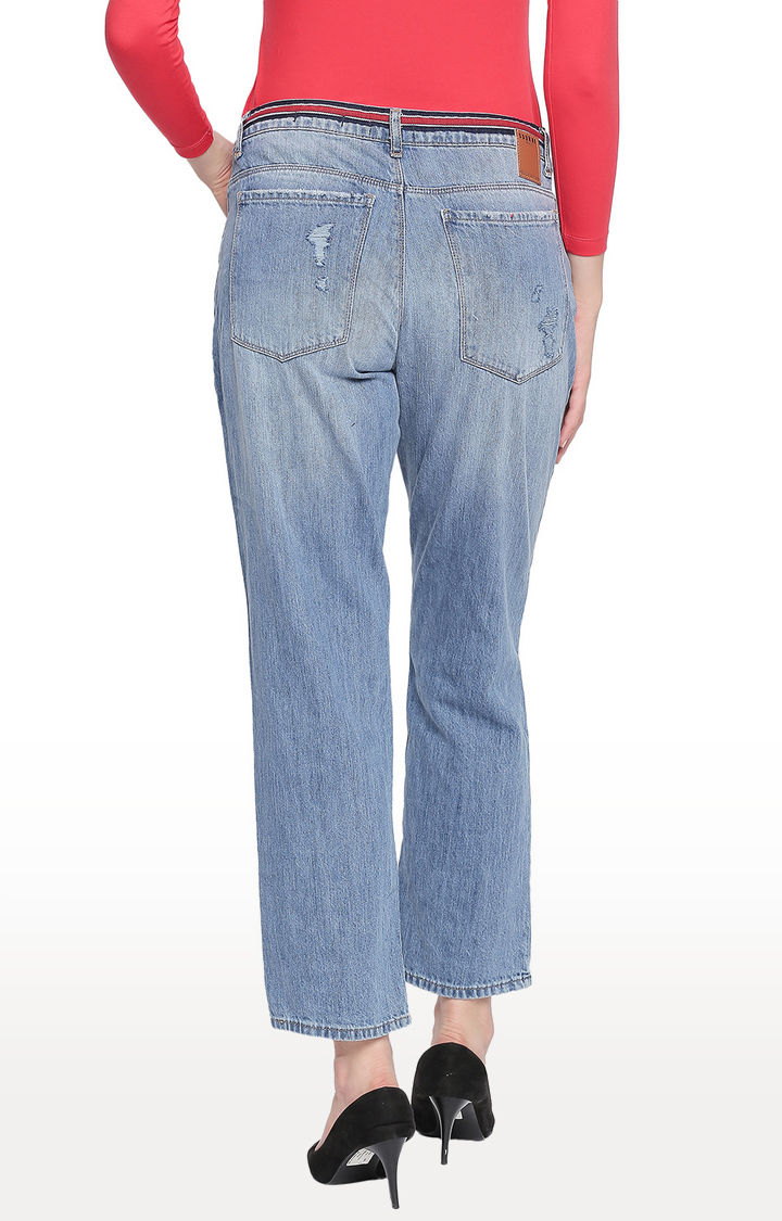 Mid Blue Ripped High Rise Jeans