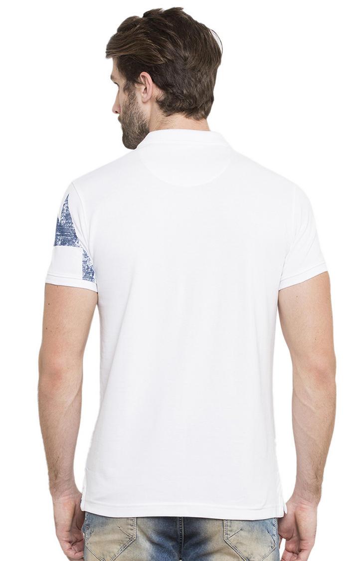 White Printed Polo T-Shirt