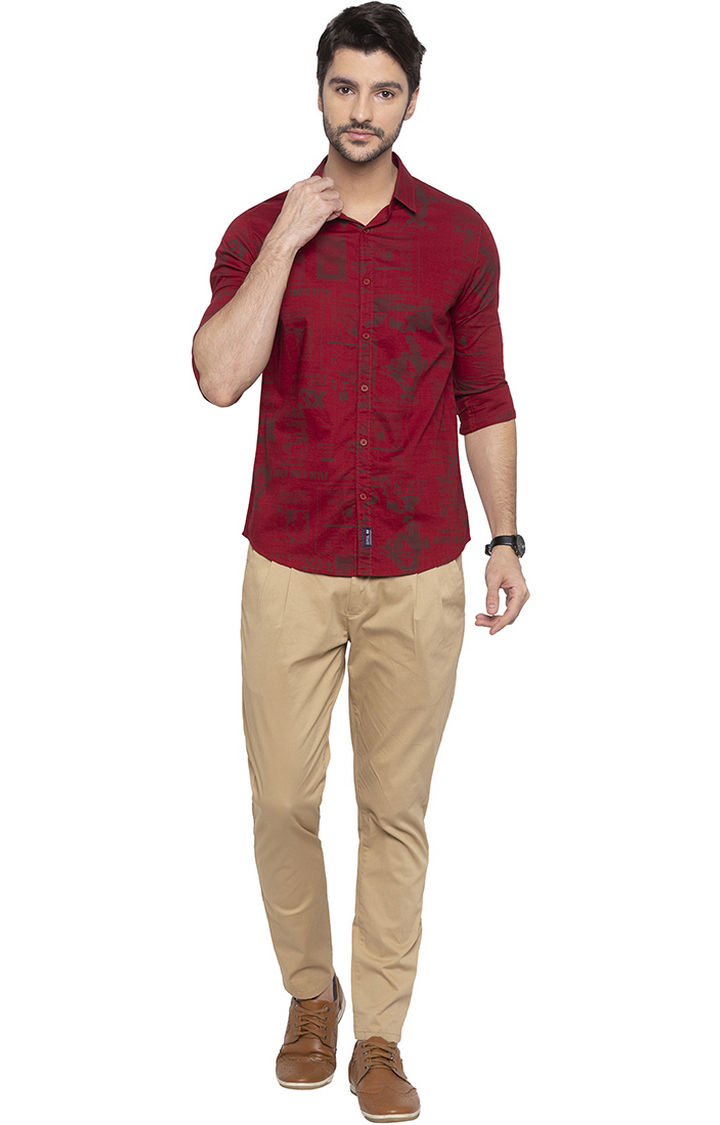 Red Printed Slim Fit Casual Shirt