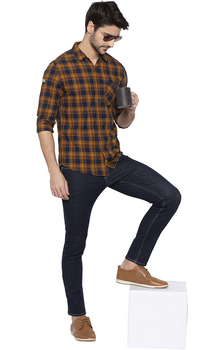 Khaki Checked Slim Fit Casual Shirt