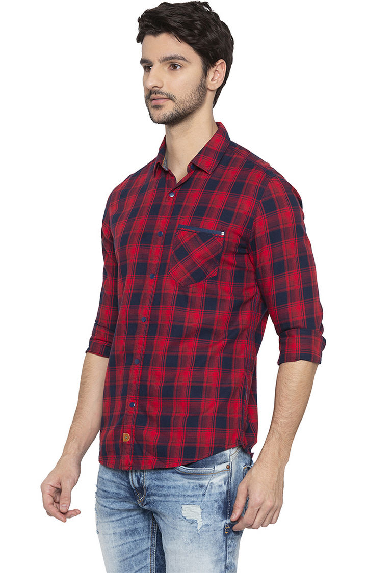 Red Checked Slim Fit Casual Shirt