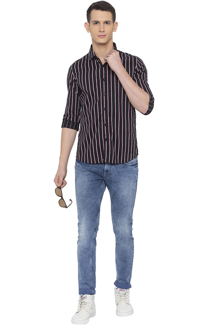 Black Striped Slim Fit Casual Shirt