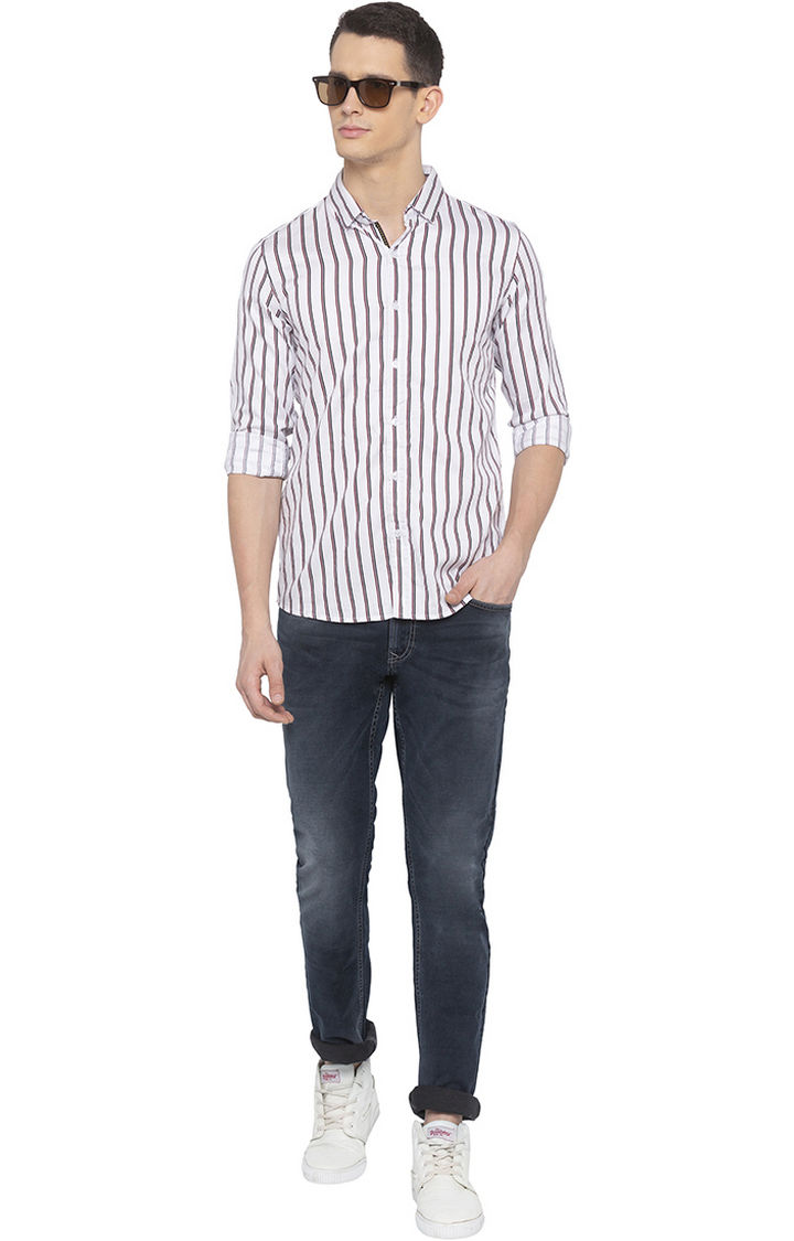 White Striped Slim Fit Casual Shirt