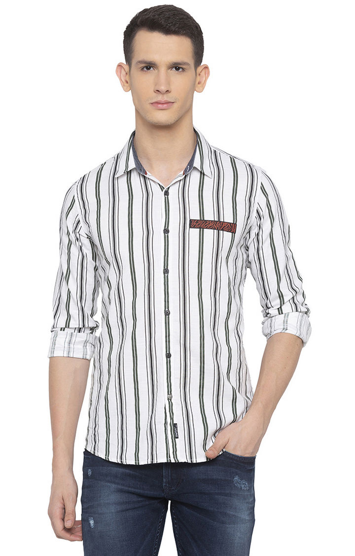 Olive and White Striped Slim Fit Casual Shirt
