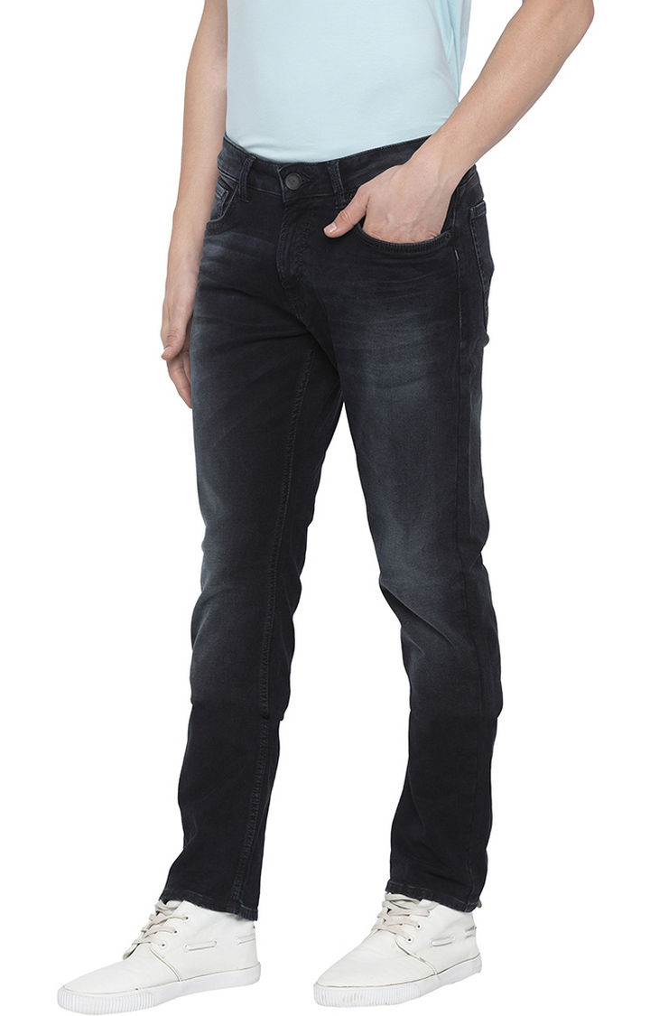 Black Solid Tapered Jeans