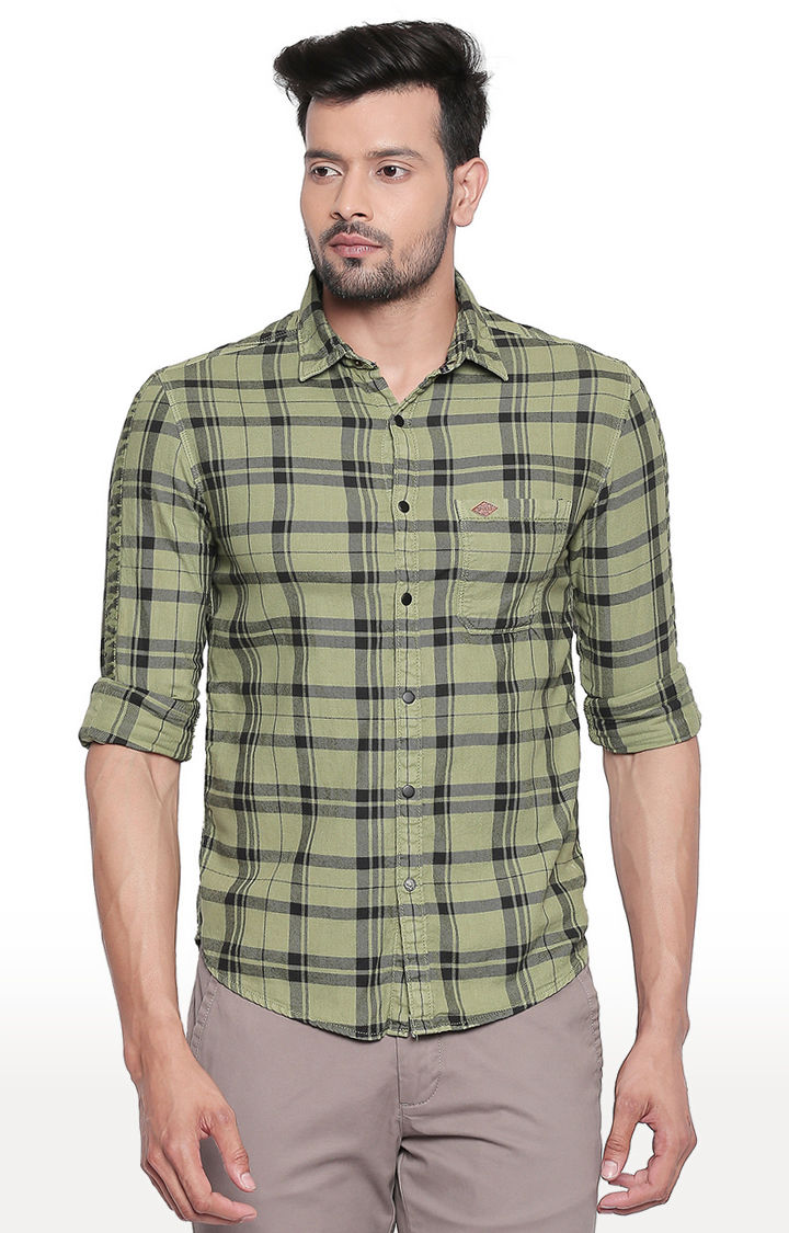 Olive Checked Slim Fit Casual Shirt
