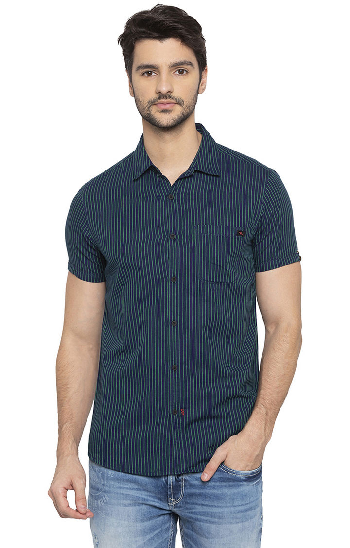 Green Striped Slim Fit Casual Shirt