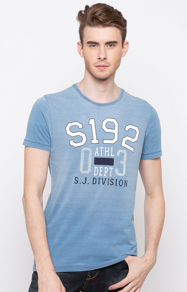 Light Indigo Printed Slim Fit T-Shirts
