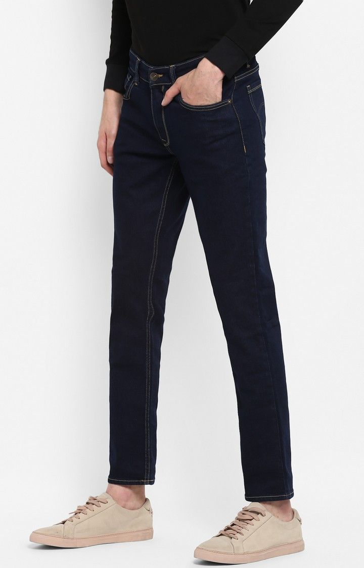Blue Solid Slim Thigh Narrow Leg Fit Jeans