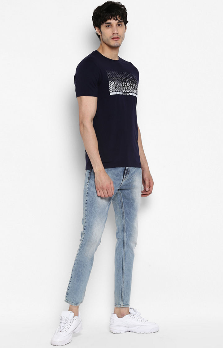 Ink Blue Printed Slim Fit T-Shirts