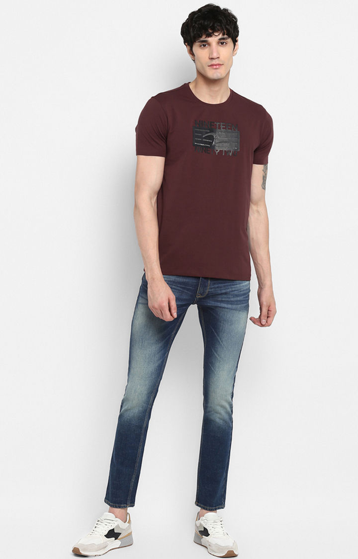 Wine Printed Slim Fit T-Shirts