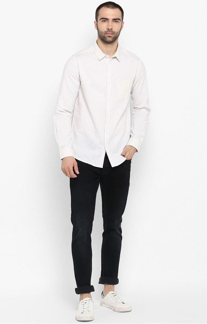 Beige Striped Slim Fit Casual Shirts