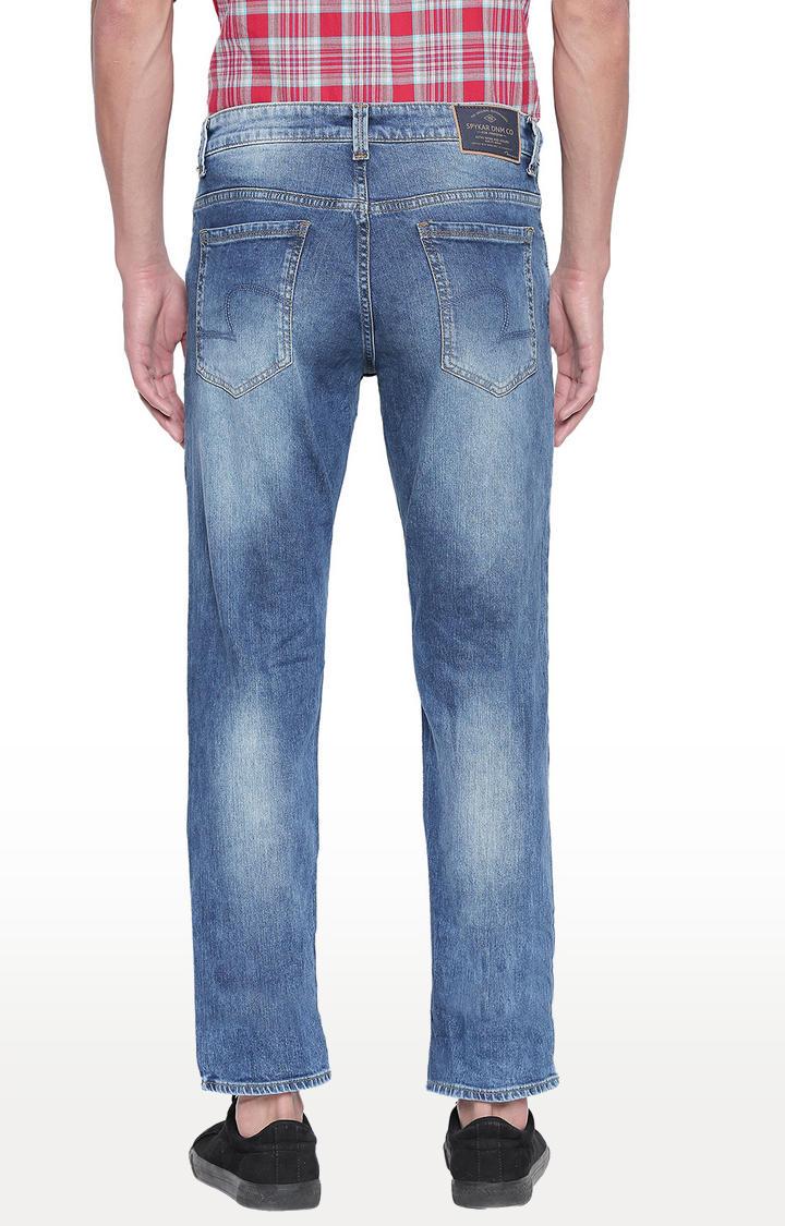 Mid Blue Solid Regular Fit Jeans