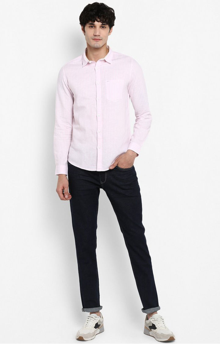 Pink Striped Slim Fit Casual Shirts